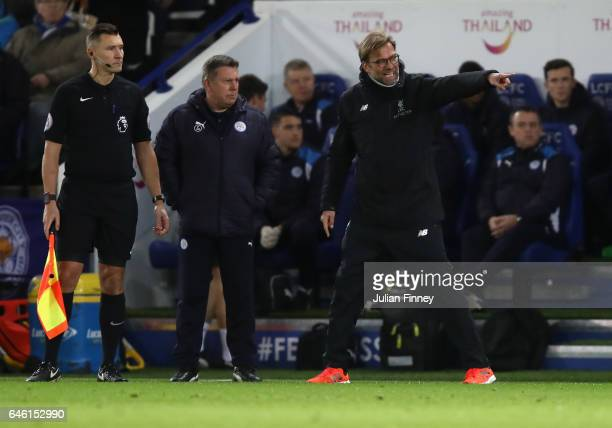 Manager of Liverpool Jurgen Klopp reacts during the Premier League match between Leicester City and Liverpool at The King Power Stadium on February...