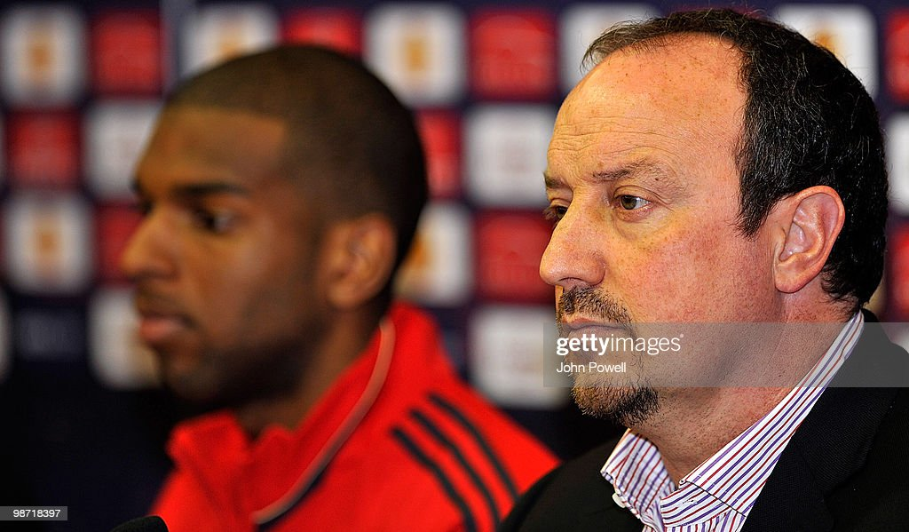 Manager of Liverpool Rafael Benitez and Ryan Babel attends a the press conference at Anfield prior to their UEFA Europa League semi-final, second leg match against Athletico Madrid, on April 28, 2010 in Liverpool, England.