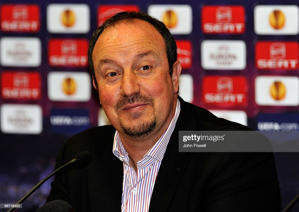 Manager of Liverpool Rafael Benitez attends a press conference at Anfield prior to their UEFA Europa League semi-final, second leg match against Athletico Madrid, on April 28, 2010 in Liverpool, England.