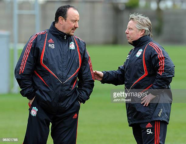 Manager of Liverpool Rafael Benitez with his assistant Sammy Lee during a Liverpool FC training session at Melwood Training Ground, ahead of their...