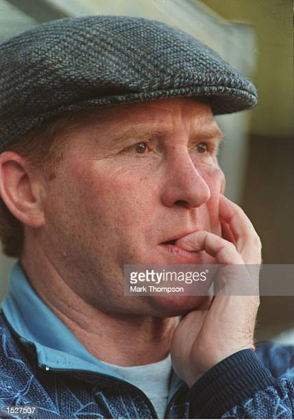 Manager of Manchester City Alan Ball feels the pressure after Manchester City's FA Premiership match at Maine Road Manchester Mandatory Credit Mark...