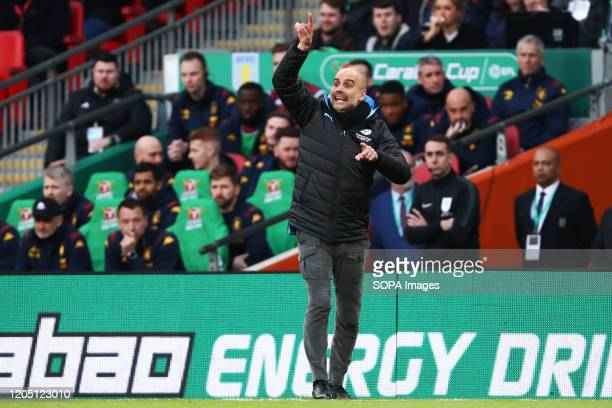Manager of Manchester City Pep Guardiola is seen during the Carabao Cup Final match between Aston Villa and Manchester City at Wembley Stadium