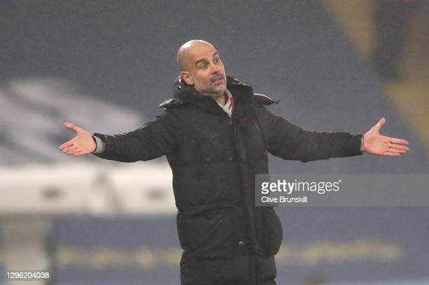 Manager of Manchester City, Pep Guardiola reacts during the Premier League match between Manchester City and Brighton & Hove Albion at Etihad Stadium...