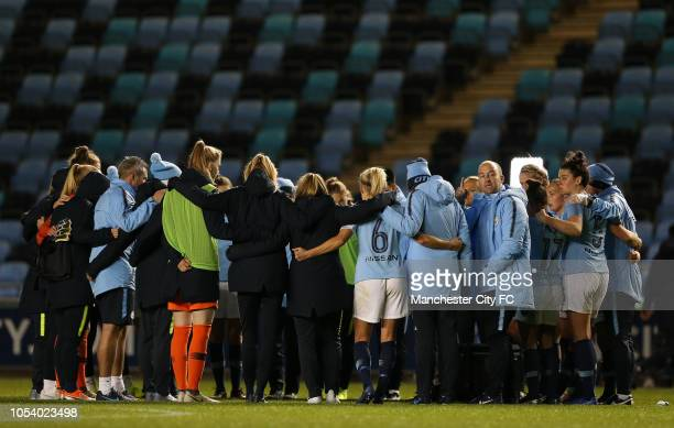 Manager of Manchester City Women Nick Cushing looks on during the team talk at the end of the match against Reading FC Women during the match at...