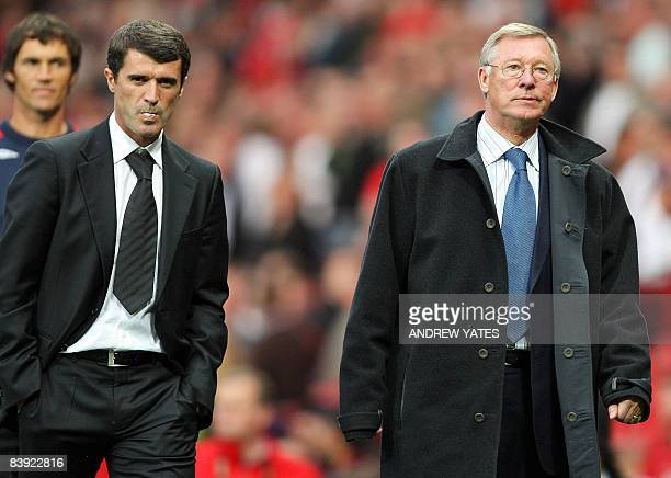 Manager of Manchester United Alex Ferguson and manager of Sunderland Roy Keane leave the pitch after their Barclays Premier league football match at...
