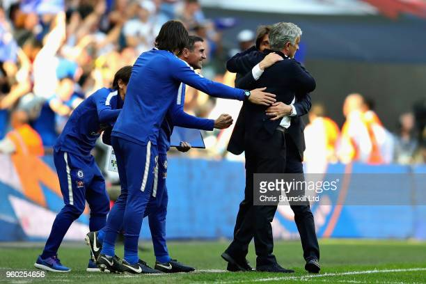 Manager of Manchester United Jose Mourinho hugs Manager of Chelsea Antonio Conte after the Emirates FA Cup Final between Chelsea and Manchester...