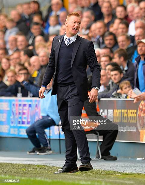 Manager of Millwall Steve Lomas makes a point during the Sky Bet Championship match between Millwall and Queens Park Rangers at The Den on October 19...
