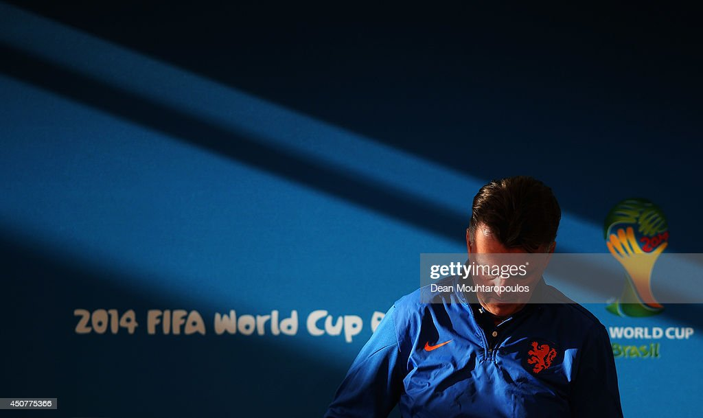 Manager of Netherlands Louis van Gaal gets ready to speak at the Netherlands Press Conference at the 2014 FIFA World Cup Brazil held at the Estadio Beira-Rio on June 17, 2014 in Porto Alegre, Brazil.