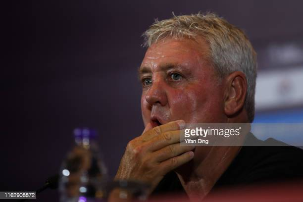 Manager of Newcastle United F.C. Steve Bruce looks during pre-match press conference of Premier League Asia Trophy on July 19, 2019 in Shanghai,...