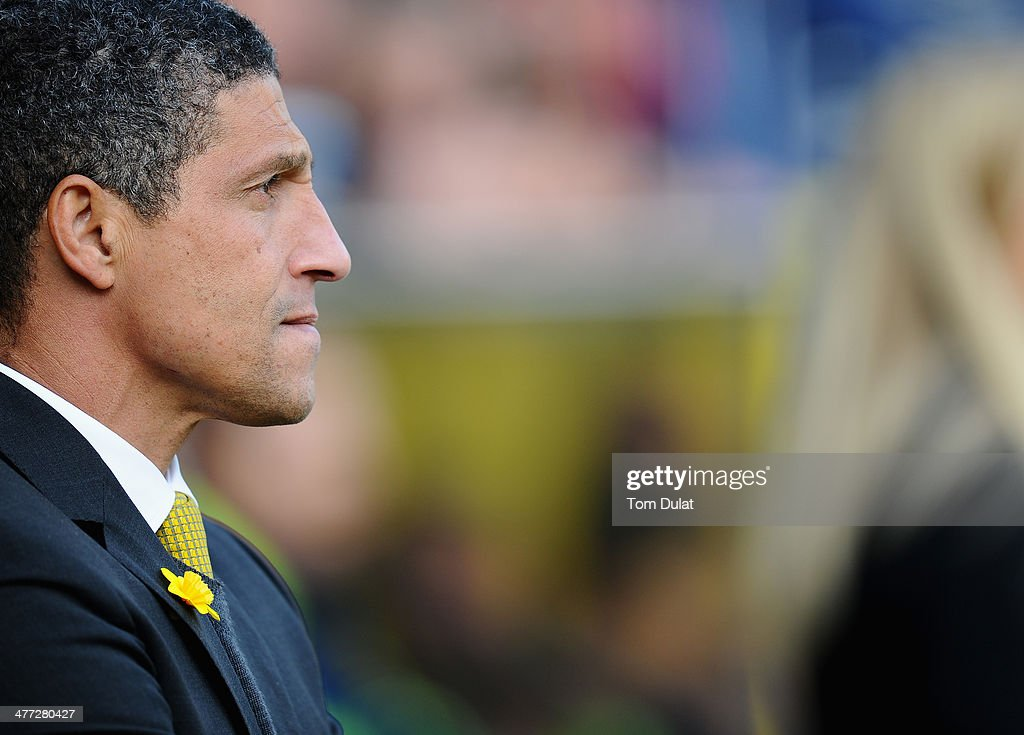 Manager of Norwich City Chris Houghton looks on during the Barclays Premier League match between Norwich City and Stoke City at Carrow Road on March 08, 2014 in Norwich, England.