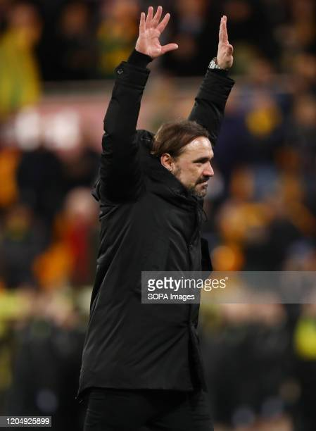 Manager of Norwich City Daniel Farke reacts during the Premier League match between Norwich City and Leicester City at Carrow Road Final Score...