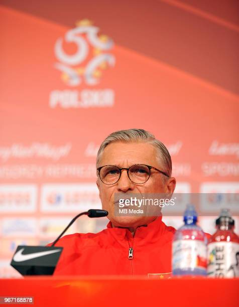 Manager of Poland Adam Nawalka announces his team's full squad for the 2018 FIFA World Cup Russia during press conference at Arlamow Hotel on June 4...