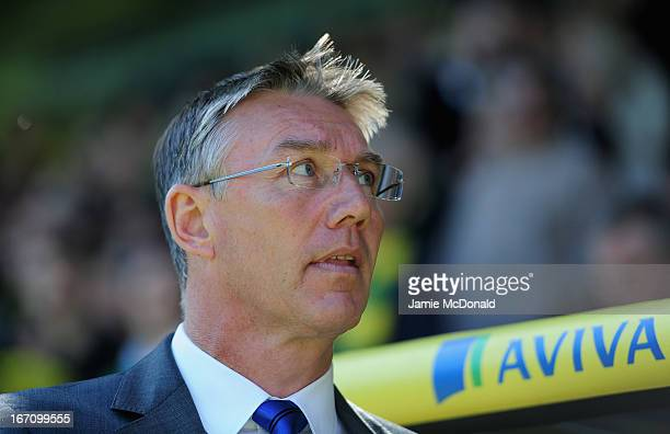 Manager of Reading Nigel Adkins looksd on during the Barclays Premier League match between Norwich City and Reading at Carrow Road on April 20 2013...