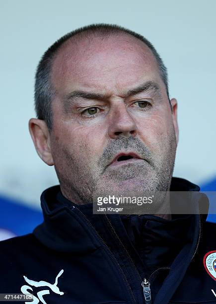 Manager of Reading Steve Clarke looks on during the Sky Bet Championship match between Rotherham United and Reading at The New York Stadium on April...