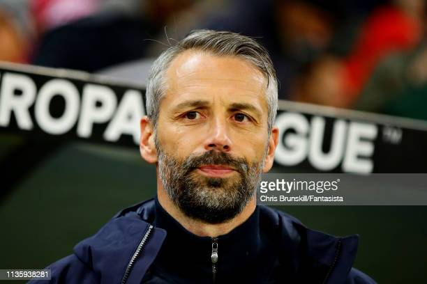Manager of Red Bull Salzburg Marco Rose looks on during the UEFA Europa League Round of 16 Second Leg match between Red Bull Salzburg and SSC Napoli...