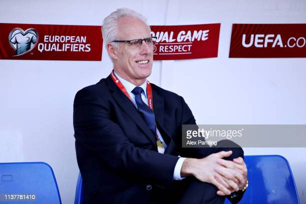 Manager of Republic of Ireland Mick McCarthy looks on before the 2020 UEFA European Championships group D qualifying match between Gibraltar and...