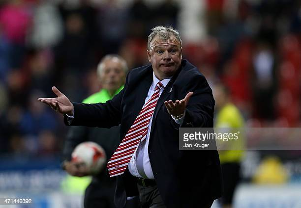 Manager of Rotherham United Steve Evans gestures during the Sky Bet Championship match between Rotherham United and Reading at The New York Stadium...