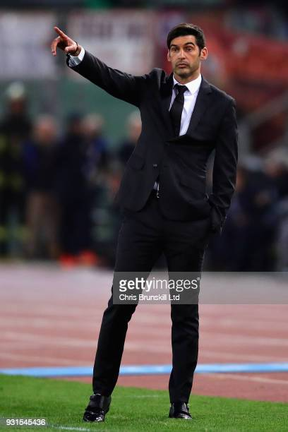 Manager of Shakhtar Donetsk Paulo Fonseca gestures from the sideline during the UEFA Champions League Round of 16 Second Leg match between AS Roma...