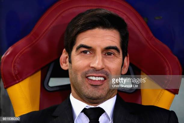 Manager of Shakhtar Donetsk Paulo Fonseca looks on from the sidelines during the UEFA Champions League Round of 16 Second Leg match between AS Roma...