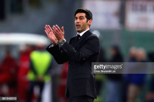 Manager of Shakhtar Donetsk Paulo Fonseca shouts from the sideline during the UEFA Champions League Round of 16 Second Leg match between AS Roma and...