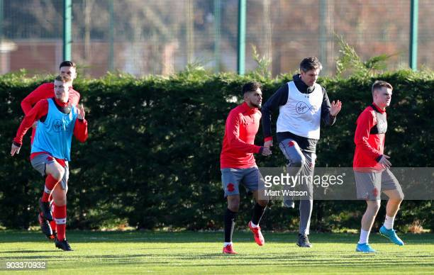 Manager of Southampton FC Mauricio Pellegrino takes part in the warm up during a training session at the Staplewood Campus on January 10 2018 in...