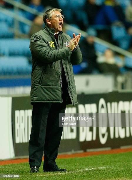 Manager of Southampton Nigel Adkins during the FA Cup 3rd round match between Coventry City and Southampton at the Ricoh Arena on January 07 2012 in...