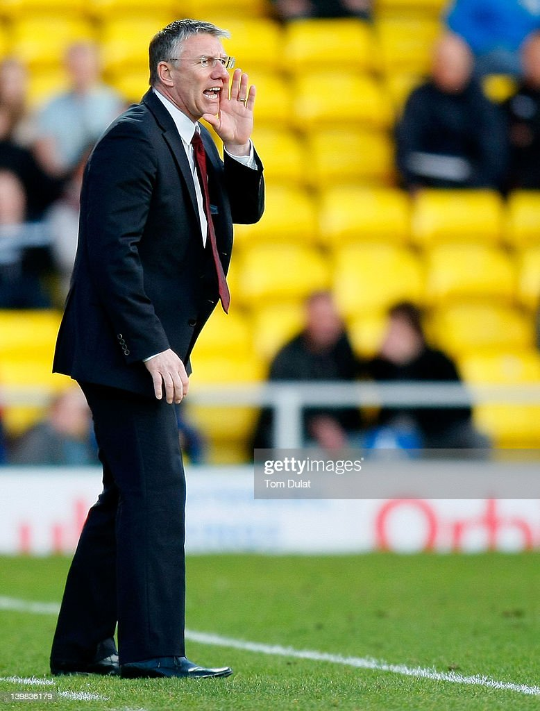 Manager of Southampton Nigel Adkins gives instructions during the npower Championship match between Watford and Southampton at Vicarage Road on February 25, 2012 in Watford, England.