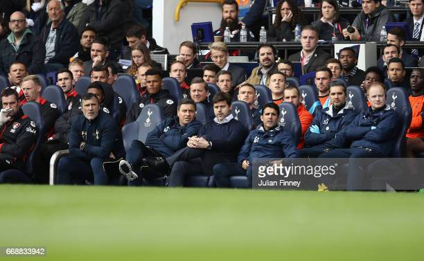 Manager of Spurs Mauricio Pochettino looks on from the bench during the Premier League match between Tottenham Hotspur and AFC Bournemouth at White...