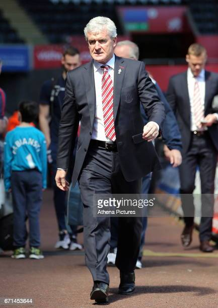 Manager of Stoke City Mark Hughes arrives prior to the Premier League match between Swansea City and Stoke City at The Liberty Stadium on April 22...