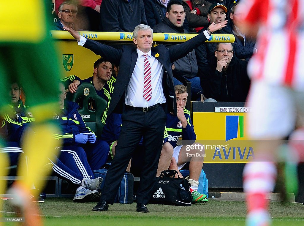 Manager of Stoke City Mark Hughes during the Barclays Premier League match between Norwich City and Stoke City at Carrow Road on March 08, 2014 in Norwich, England.