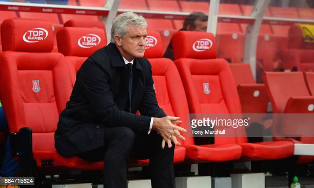 Manager of Stoke City Mark Hughes during the Premier League match between Stoke City and AFC Bournemouth at Bet365 Stadium on October 21 2017 in...