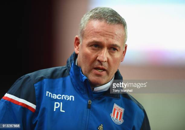 Manager of Stoke City Paul Lambert during the Premier League match between Stoke City and Watford at Bet365 Stadium on January 31 2018 in Stoke on...