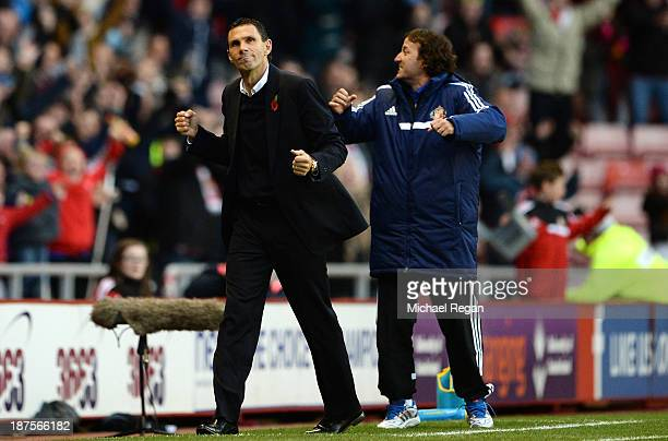 Manager of Sunderland Gus Poyet celebrates victory after the Barclays Premier League match between Sunderland and Manchester City at the Stadium of...