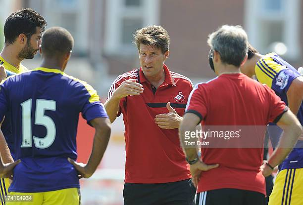 Manager of Swansea City Michael Laudrup gives instructions during the Pre Season Friendly match between Exeter City and Swansea City at St James'...