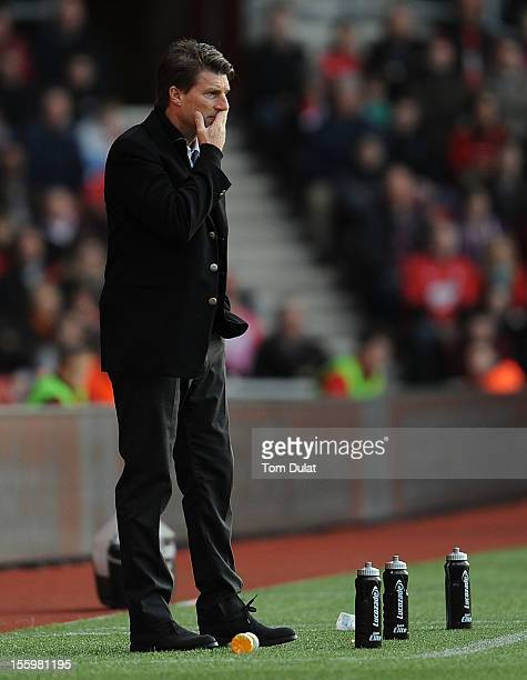 Manager of Swansea City Michael Laudrup looks on during the Barclays Premier League match between Southampton and Swansea City at St Mary's Stadium...