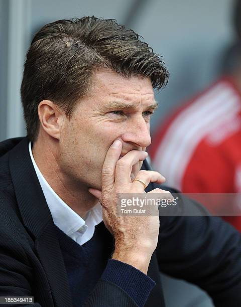 Manager of Swansea City Michael Laudrup looks on prior to the Barclays Premier League match between Swansea City and Sunderland at Liberty Stadium on...
