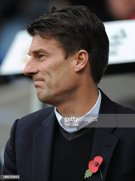 Manager of Swansea City Michael Laudrup looks on prior to the Barclays Premier League match between Swansea City and West Ham United at Liberty...