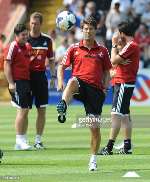 Manager of Swansea City Michael Laudrup prior to the Pre Season Friendly match between Exeter City and Swansea City at St James' Park on July 21 2013...