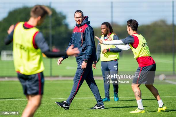 Manager of Swansea City Paul Clement looks on during the Swansea City training session at The Fairwood training Ground on September 13 2017 in...