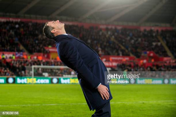 Manager of Swansea City Paul Clement reacts during the Premier League match between Swansea City and Bournemouth at The Liberty Stadium on November...