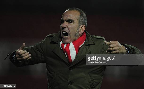 Manager of Swindon Town Paolo Di Canio celebrates a goal during the npower League One match between Swindon Town and Tranmere Rovers at the County...