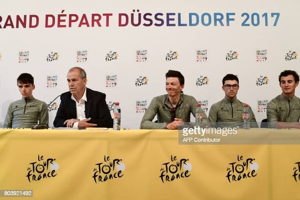 Manager of the France's AG2R La Mondiale cycling team, Vincent Lavenu , France's Romain Bardet , Belgium's Oliver Naesen , France's Pierre-Roger...