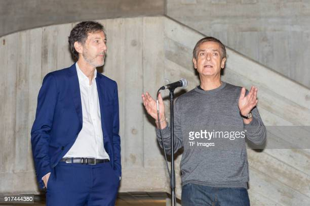 Manager of the Hayward Gallery Ralph Rugoff and potographer Andreas Gursky hold a speech in the reopened Hayward Gallery on January 24 2018 in London...