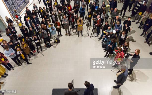 Manager of the Hayward Gallery Ralph Rugoff and potographer Andreas Gursky attend the press conference in the reopened Hayward Gallery on January 24...