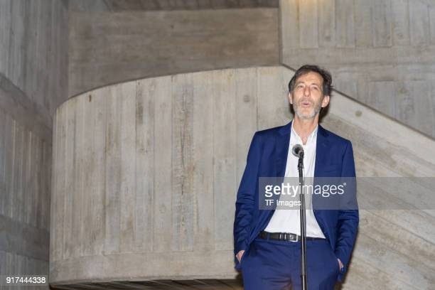 Manager of the Hayward Gallery Ralph Rugoff speaks in the reopened Hayward Gallery on January 24 2018 in London England