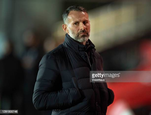 Manager of the Wales national team and a co-owner of Salford City, Ryan Giggs, during the Sky Bet League Two match between Salford City and Newport...