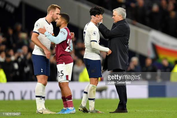 Manager of Tottenham Hotspur Jose Mourinho and Son HeungMin of Tottenham Hotspur embrace after the Premier League match between Tottenham Hotspur and...