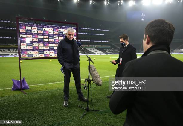 Manager of Tottenham Hotspur, Jose Mourinho speaks to Amazon Prime prior to the Premier League match between Tottenham Hotspur and Fulham at...