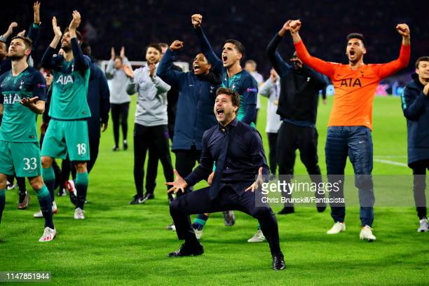 Manager of Tottenham Hotspur Mauricio Pochettino celebrates his sides win after the UEFA Champions League Semi Final second leg match between Ajax...