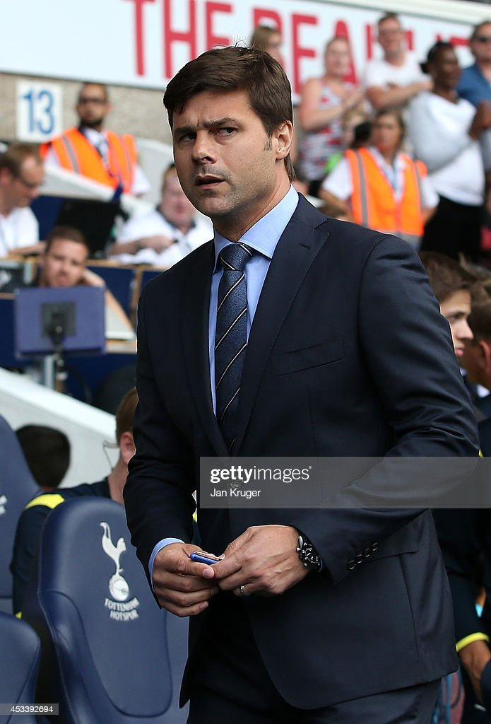 Manager of Tottenham Hotspur Mauricio Pochettino looks on during a pre season friendly match between Tottenham Hotspur and FC Schalke at White Hart Lane on August 9, 2014 in London, England.